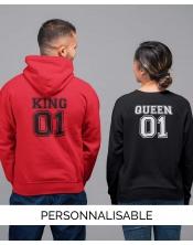 Hoodie Queen personnalisable - Pilou et Lilou