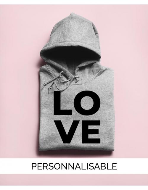 Hoodie Love à personnaliser - Pilou et Lilou