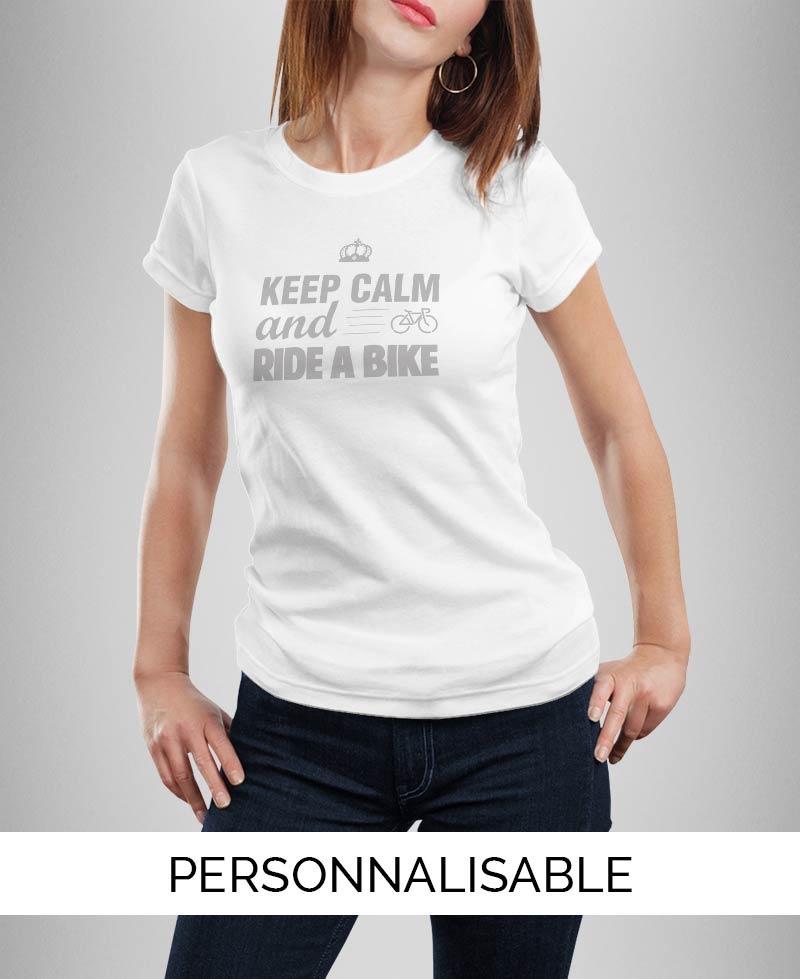 T-shirt femme à personnaliser Keep calm and ride a bike