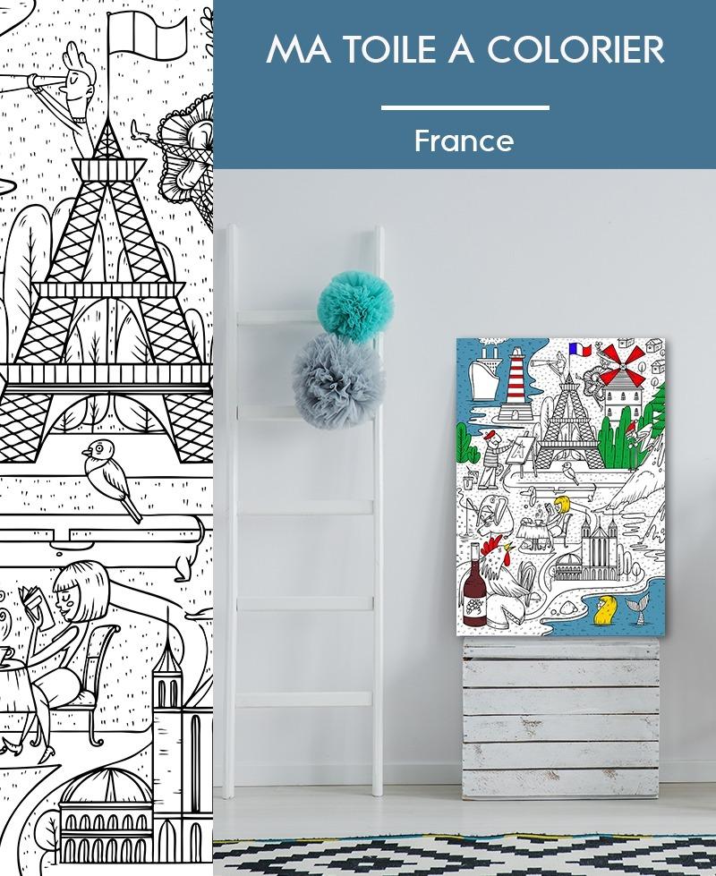 ma toile colorier france - Coloriage Toile
