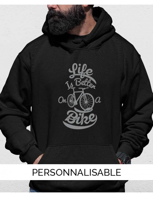 Hoodie personnalisable Life is better on a bike - Pilou et Lilou