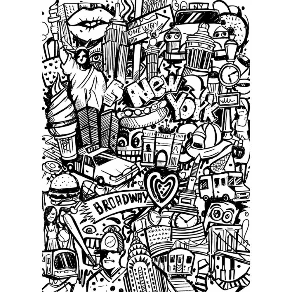 ma toile colorier new york tag - Coloriage Toile