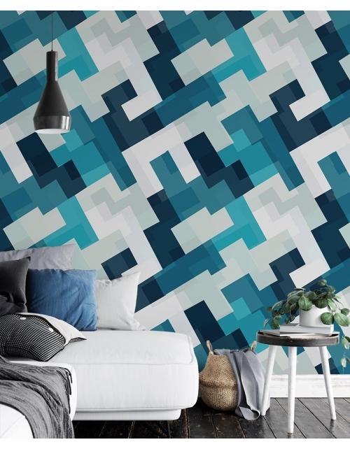 Papier Peint Blue Geometric