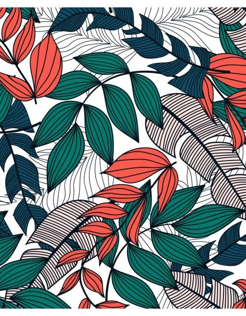 Papier Peint Tropical Leave Red