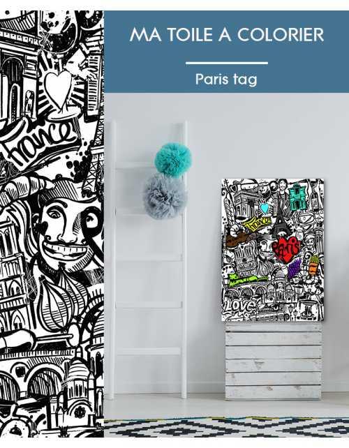 Ma toile à colorier Paris Tag