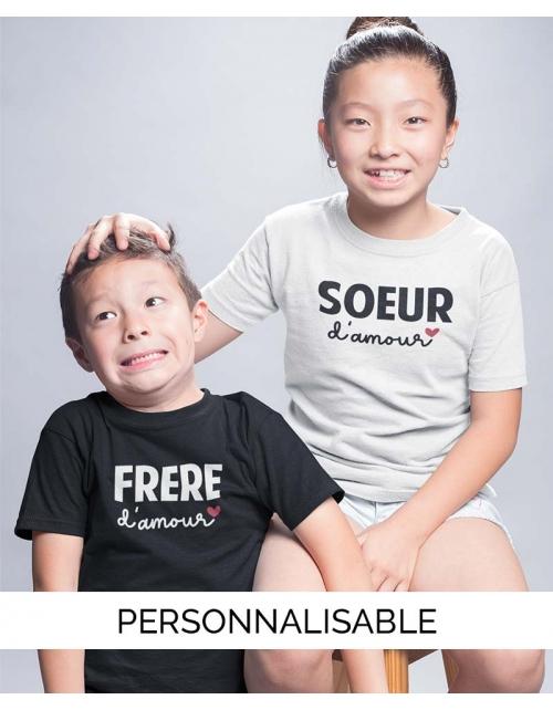 T-shirt enfant Soeur d'Amour - Collection Famille - Pilou et Lilou