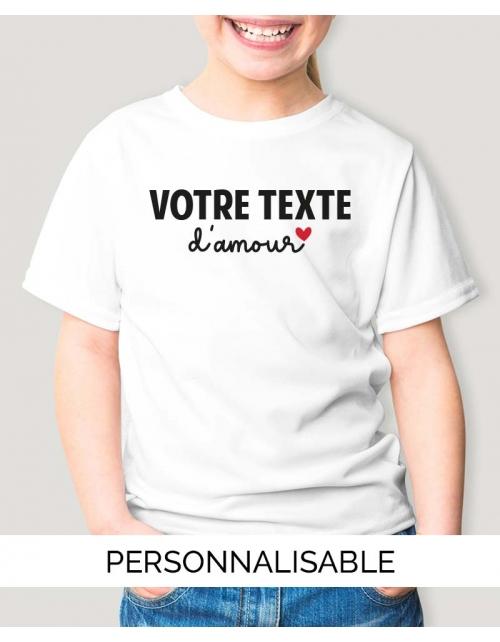 T-shirt enfant à personnaliser - Votre Texte d'Amour - Pilou et Lilou