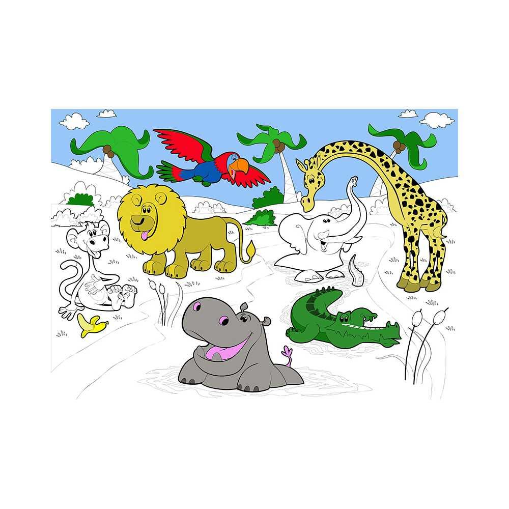 Coloriage Geant Animaux.Poster Geant A Colorier Animaux De La Savane Lion Croco