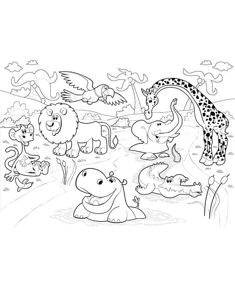 Poster Geant A Colorier Animaux De La Savane Lion Croco Coloriage
