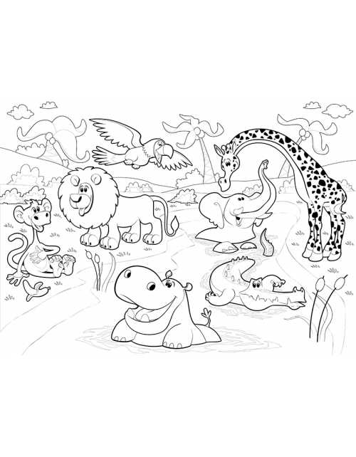 Coloriage Géant - Animaux de la Jungle