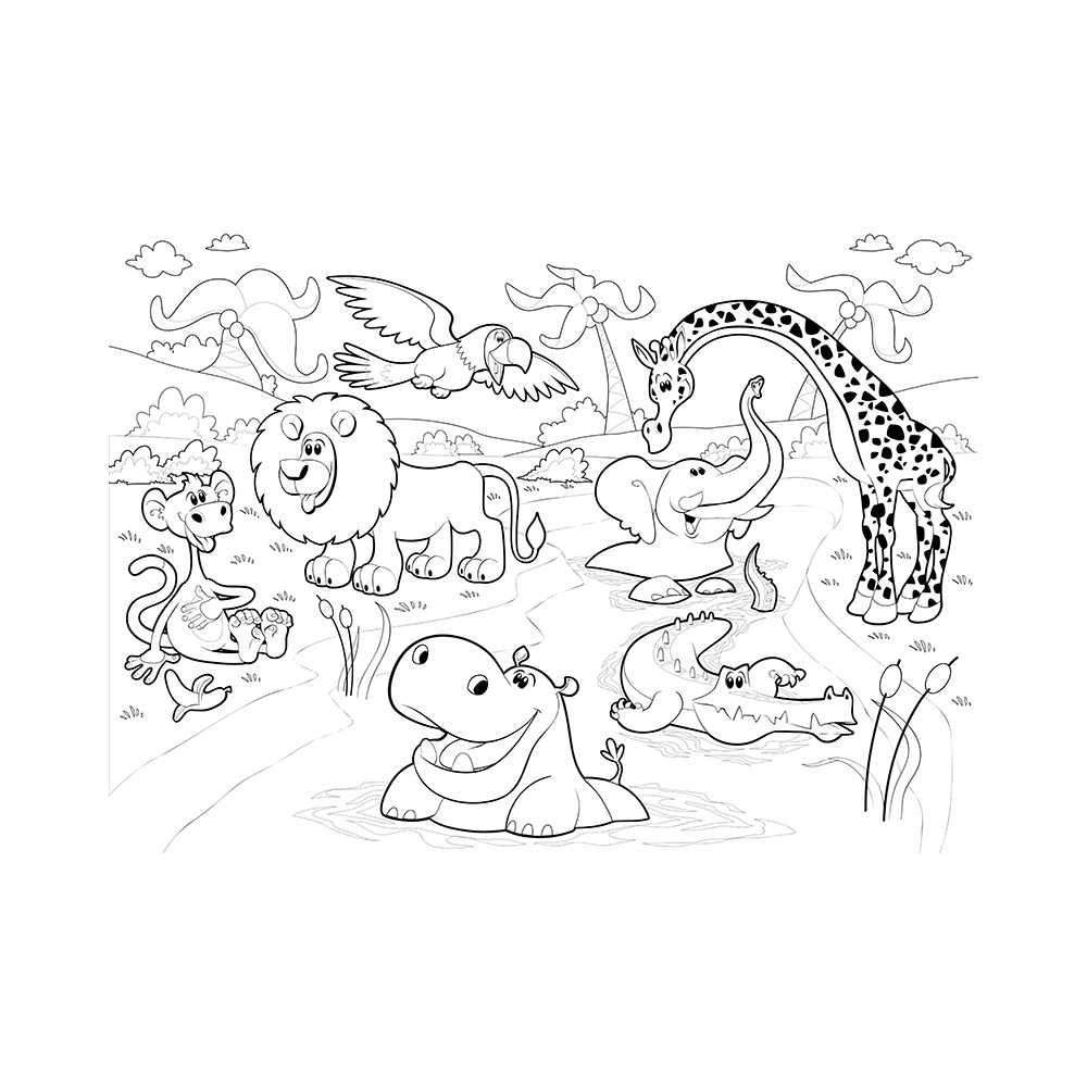 Poster g ant colorier animaux de la savane lion croco - Coloriage animaux de la jungle ...