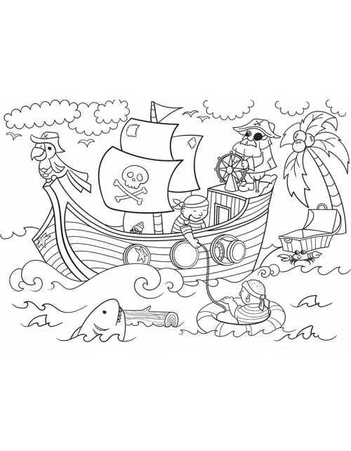 Coloriage Géant - Les Pirates