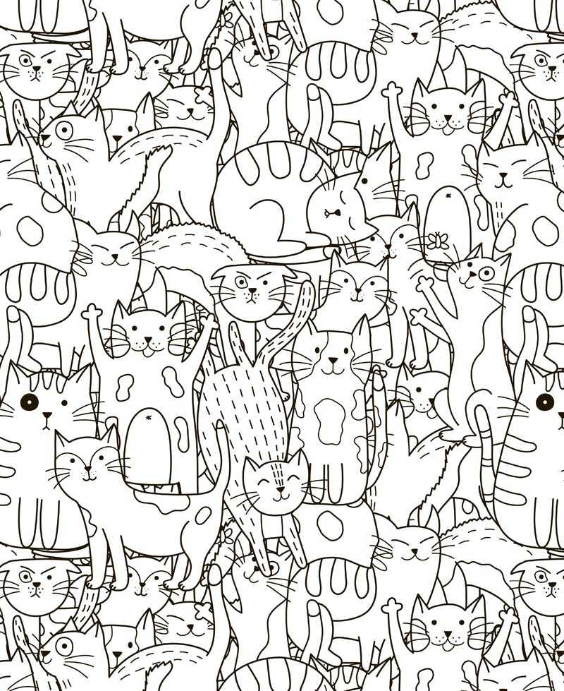 Poster Geant A Colorier Pour Enfant Chats