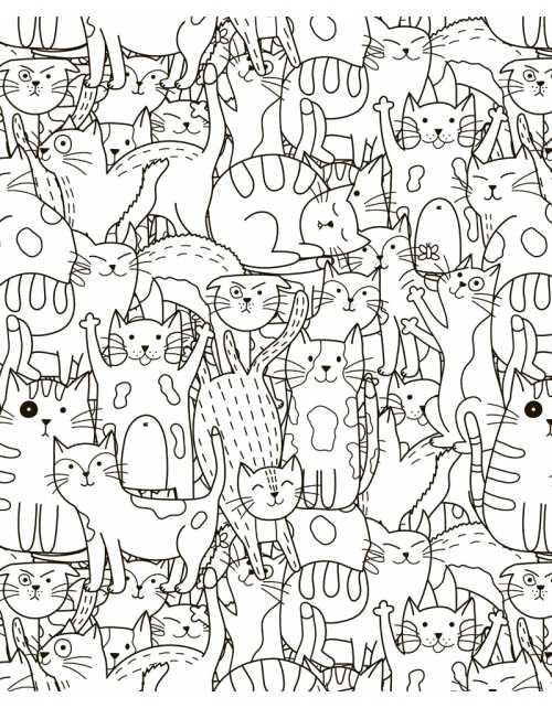 Coloriage - Les Chats-Choux