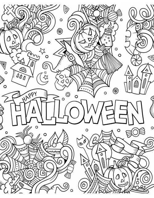 Poster à colorier Happy Halloween