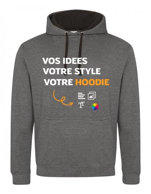 Sweat à capuche bicolore à personnaliser -PrintMyDeco -France