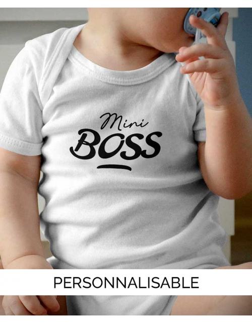Mini Boss, body bébé à personnaliser - Pilou et Lilou