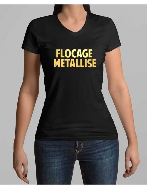 T-shirt femme à personnaliser effet métallisé - Col V - Printmydeco