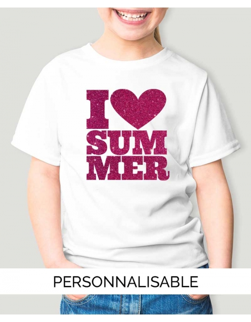 T-shirt enfant à personnaliser I Love Summer - Pilou et Lilou