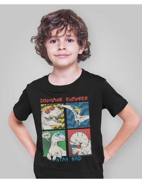 T-Shirt DinoPopArt - Noir- Pilou et Lilou