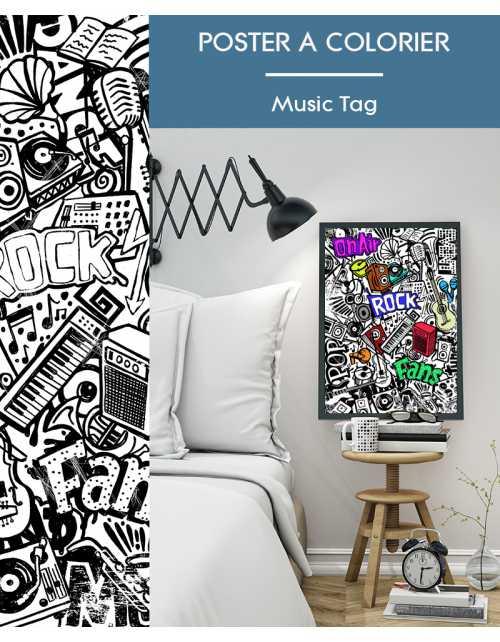 Poster à colorier Music Tag