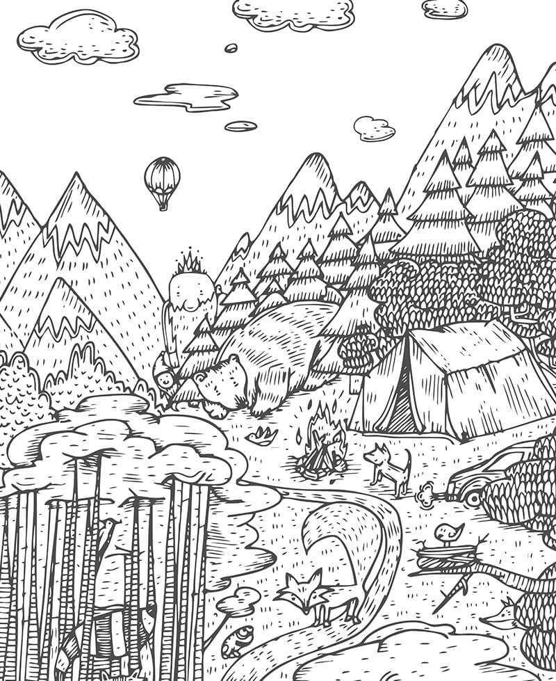 Poster à colorier Forêt enchantée