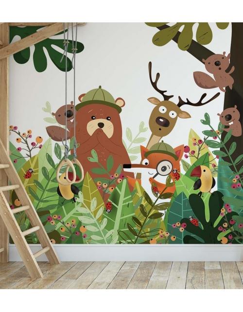 Papier Peint Renard Sherlock and Friends dans la forêt -Pilou et Lilou