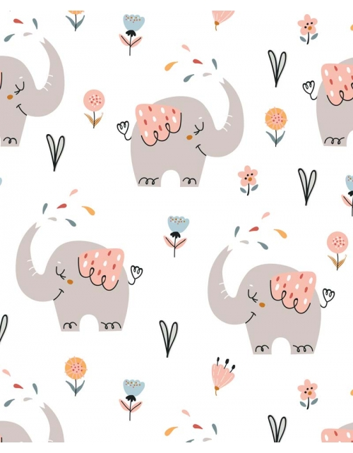 Papier Peint Emy - Elephants - Chambre bébé, fille - Pilou et Lilou