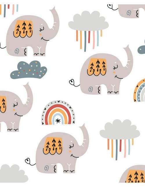Papier Peint Elliot - Motif Elephants - Pilou et Lilou