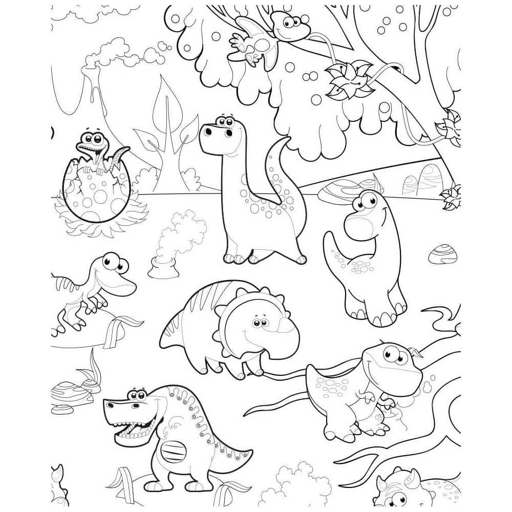 Coloriage Geant Dinosaures Trex Diplodocus Et Tous Leurs Amis