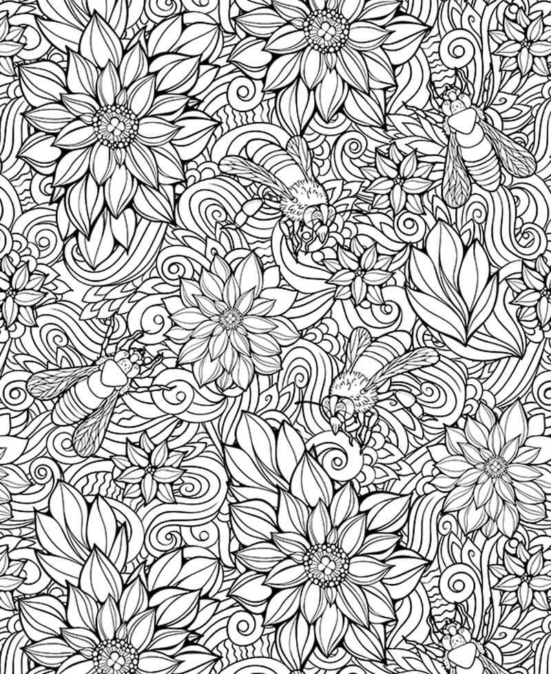 Poster Geant A Colorier Coloriage Pour Adultes Fleurs Abeilles