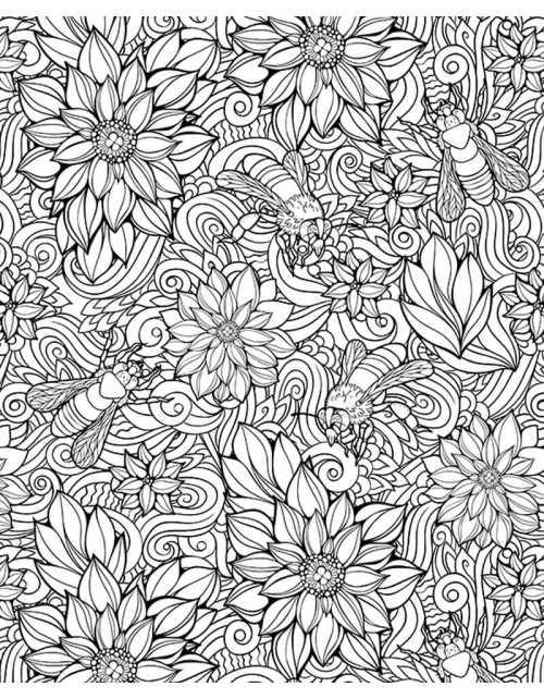 Coloriage Géant - Fleurs & Abeilles