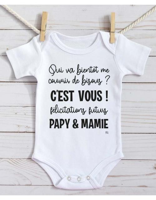 Body Bébé - Annonce Grossesse à Papy et Mamie