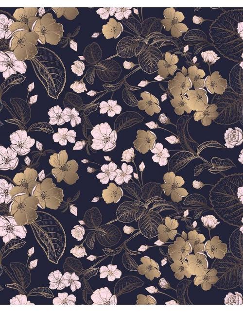Papier Peint Fleurs en Or - Pilou et Lilou