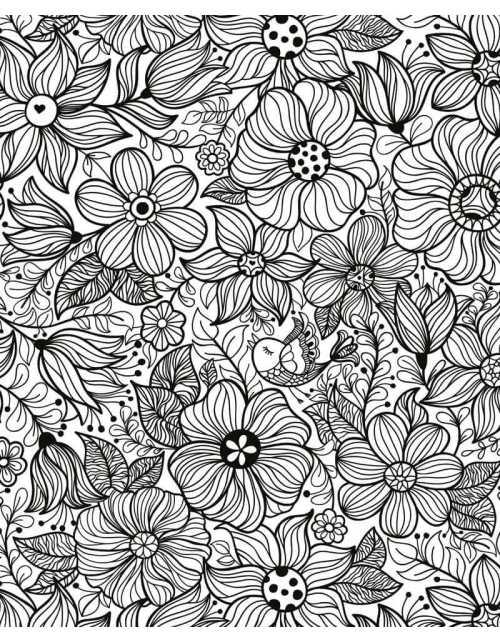 Coloriage Géant - Fleurs et Oiseaux