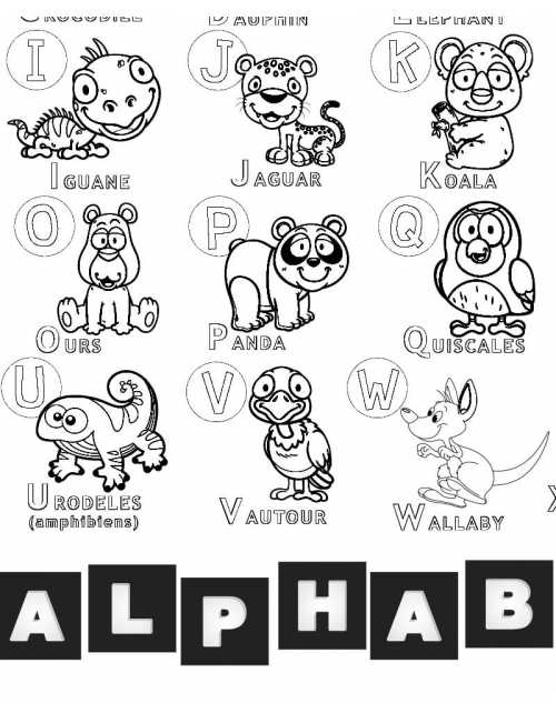 Coloriage - Alphabet Animaux
