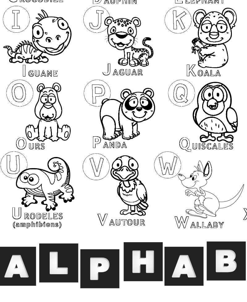 Coloriage - Alphabet Animaux