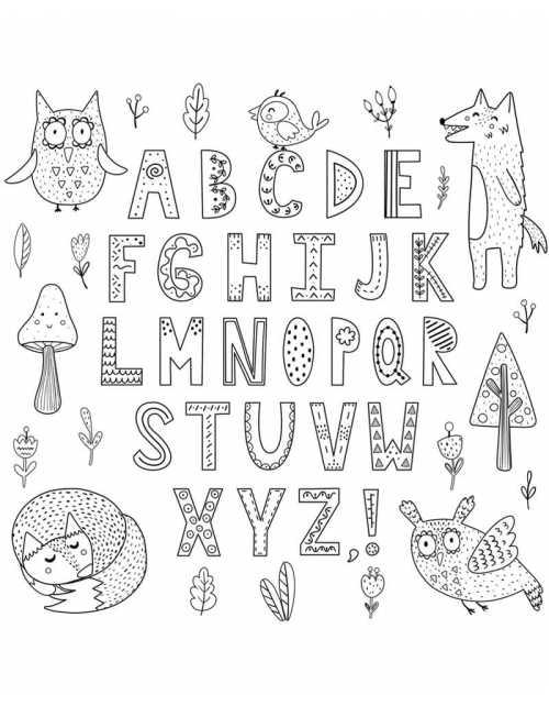 Coloriage - Forêt Alphabet