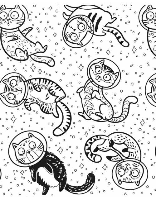 Coloriage - Chat Cosmonaute