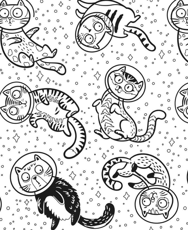 Coloriage géant Chats cosmonautes, perdus dans l'espace