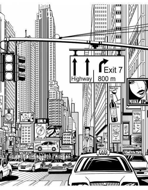 Coloriage Géant - New-York Street