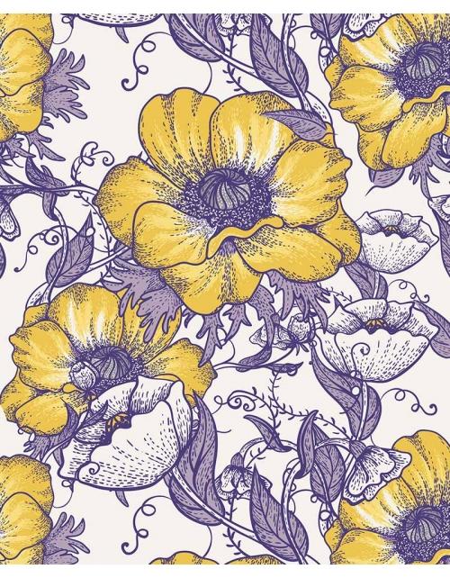 Papier Peint Fleurs Pourpres
