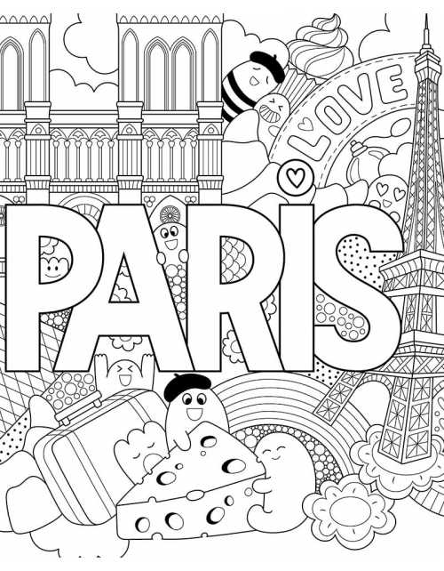 Coloriage - Love Paris