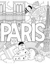 Coloriage - Love Paris