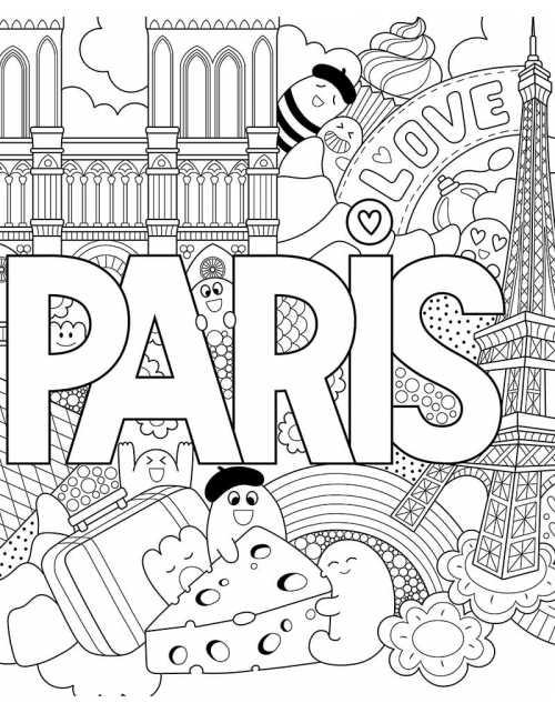 Coloriage Géant - Love Paris