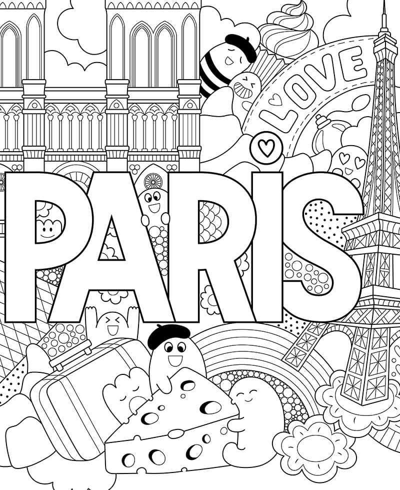Coloriage géant enfant Paris, monuments, gastronomie à ...