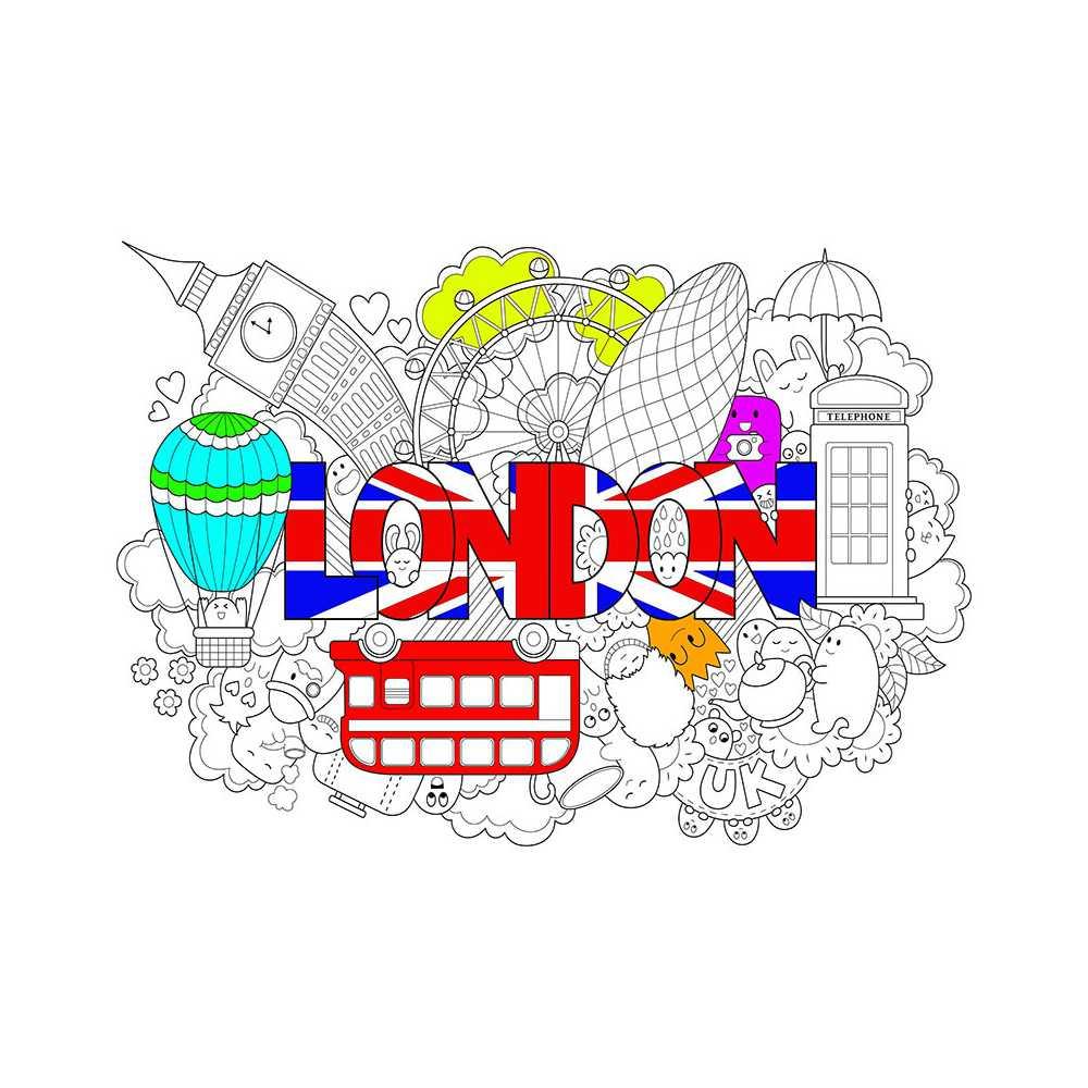 Coloriage géant enfant Londres, monuments, bus, téléphone à colorier