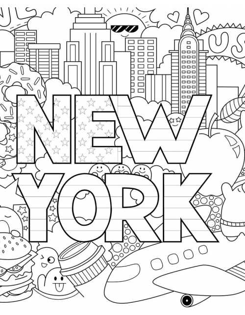 Coloriage Géant - Love New-York