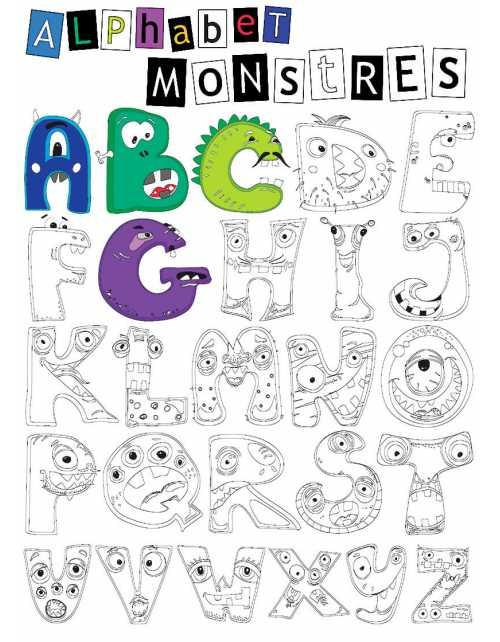 Coloriage - Alphabet Monstres