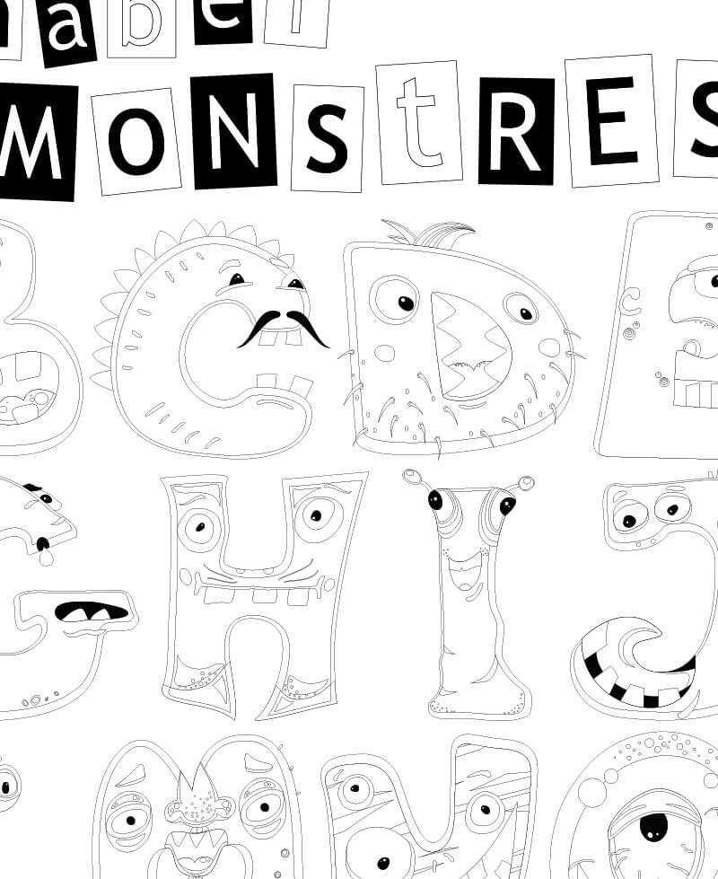 Poster Geant A Colorier Pour Enfant Alphabet Petits Monstres